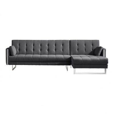 Brilliant 114 W Sectional Sofa Bed Laf Chaise Dramatic Tufting Stainless Steel Base Ebay Short Links Chair Design For Home Short Linksinfo