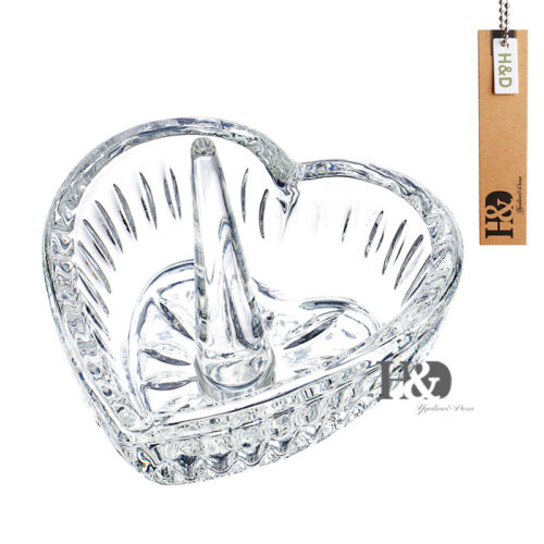 Crystal Glass Heart Jewelry Ring Holder Wedding Party Decor Favor Handmade Gifts