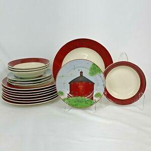 16-PIECE-LOT-WARREN-KIMBLE-SAKURA-BARNS-DINNER-PLATES-SOUP-BOWLS-SALAD-PLATES