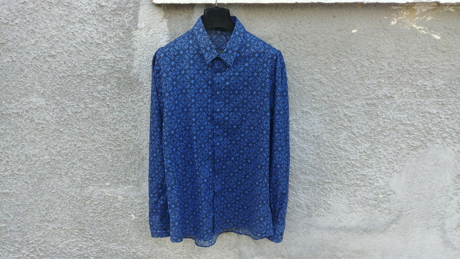 Versace Collection bluee Fantasia Floral Baroque Print Cotton Shirt size 45 (XL)