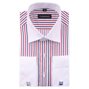 New-Mens-Double-Cuff-Striped-Formal-Dress-Italian-Designer-Casual-Luxury-Shirts