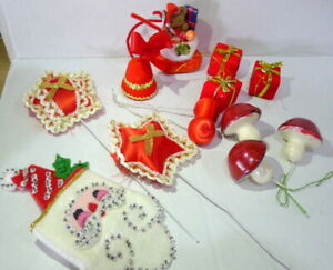 Christmas Ornament Decorations wreaths parts vintage 1980s Lot of 13