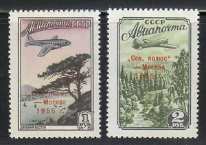 Russie-1955-neuf-sans-charniere-SC-C95-96-Mi-1789-1790-Pole-Nord-Moscou-Aeroplan-over-Forest