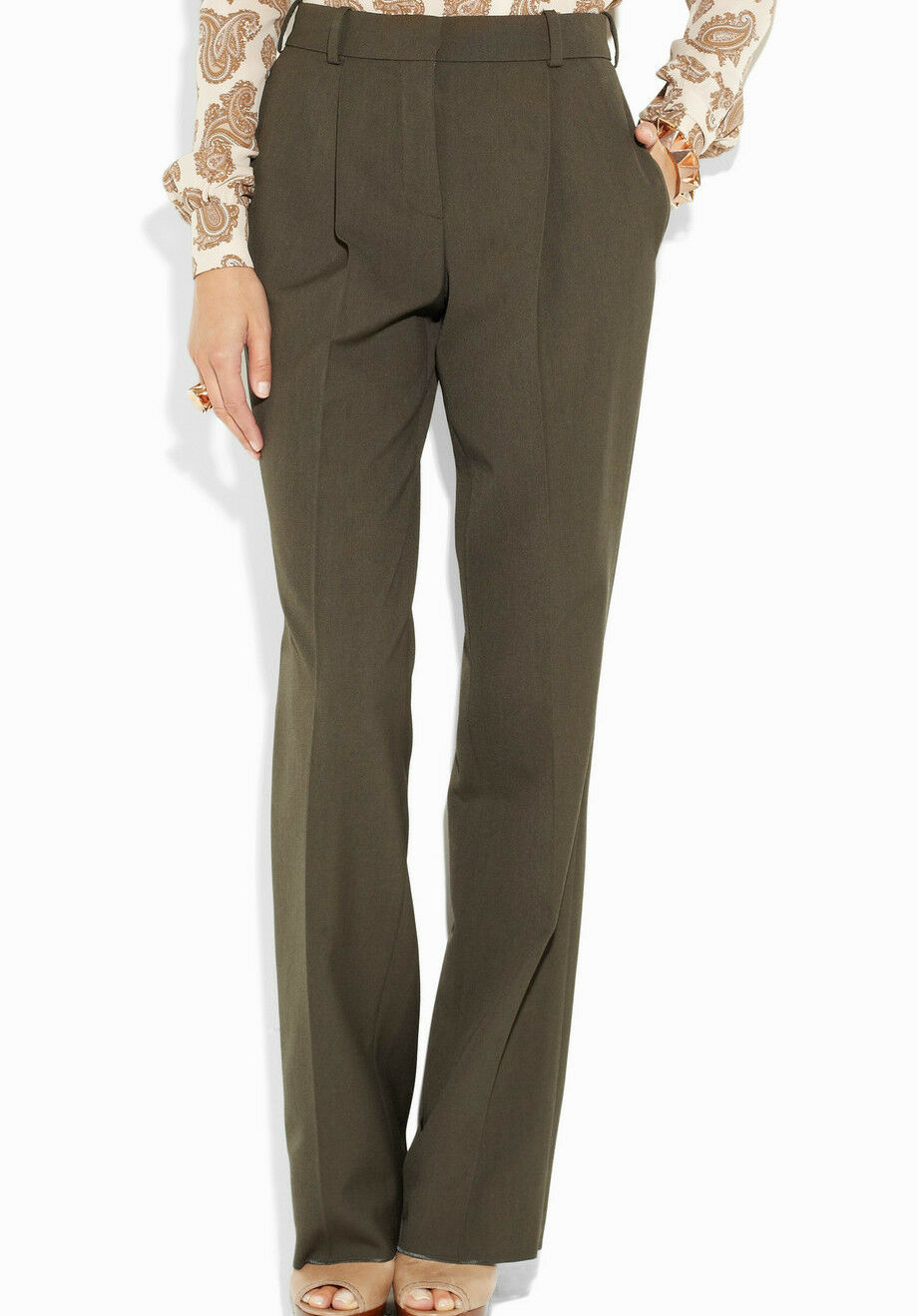 NWT  Designer CHLOÉ High-waisted Wool Wide-leg Trousers PANTS FR 40 42