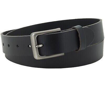Büffel Ledergürtel 3,5 Cm Herren Damen Belt Echt Voll Leder Gürtel Schwarz Nr.17