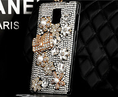 Luxury Bling Crystal Diamond Handbag Flowers Back Hard Case For Samsung Galaxy