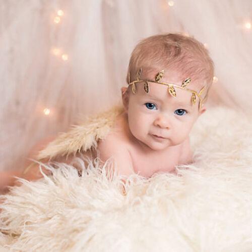 Girls boys Newborn Baby Angel Wings Leaf Headband Photo Photography Props Decor