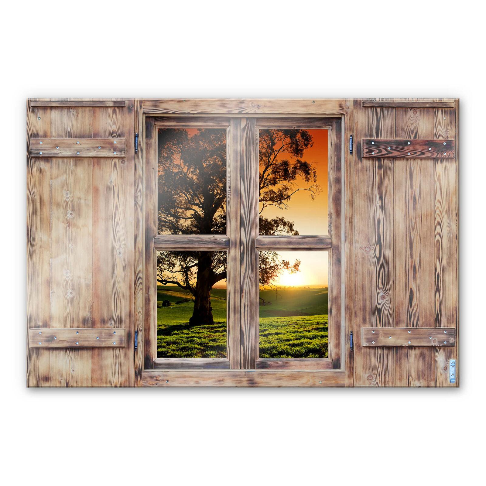 Verre 3d Holzfenster-Coucher de Soleil sur les collines ahurissantes vraiment DECO