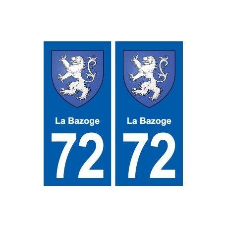 72 La-Bazoge blason autocollant plaque stickers ville arrondis