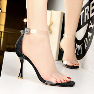 Womens-Clear-Peep-Toe-High-Heel-Stilettos-Sandals-Party-Ankle-Strap-Buckle-Shoes
