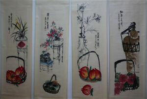 RARE-Chinese-100-Hand-Painting-4-Scrolls-Flowers-amp-Fruits-034-By-Qi-baishi-AL