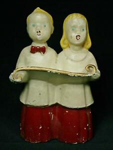 Details about Vintage Chalkware Boy And Girl Choir Singers Circa 1940's