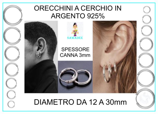 Orecchini Cerchio Cerchietto Set in Argento 925/% Uomo Donna 2mmx 12 14 16 mm