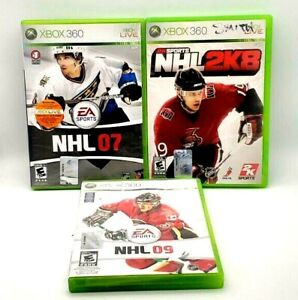 Xbox 360 NHL Bundle 07 2K8 09 Tested Complete CIB EA 2K Sports Hockey Game Lot