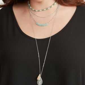New-Stella-amp-Dot-Frieze-Layering-Necklace-Silver-Turquoise-Versatile-4-IN-1