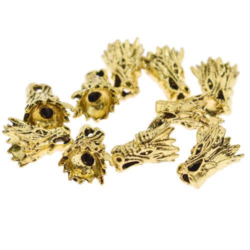 10 PCS Argent Or Alliage Lion Fox Head perles charme Bricolage Bijoux Making Material