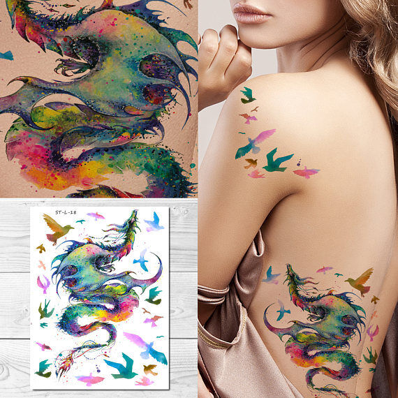 SUPPERB Temporary Tattoos - Colorful Dragon & Birds for sale online ...