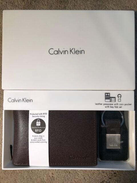 92edb1bf59722 Calvin Klein Men s RFID Blocking Leather Bookfold Wallet With Key Fob Brown  on