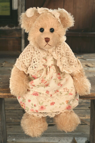 Teddy Bear /'Katie/' Settler Bears Handmade Floral Dress Gift 38cms BRAND NEW