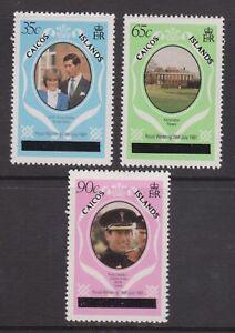 1981-Matrimonio-Reale-Charles-amp-Diana-Gomma-integra-non-linguellato-Caicos-Stamp-Set-OPT-capitali