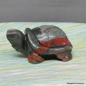 Gorgeous Green Red Bloodstone Carved Turtle Heliotrope Jasper, Bds77