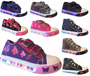 Light Up Baby Toddler Girls Boys Kid s Strap Canvas Flat