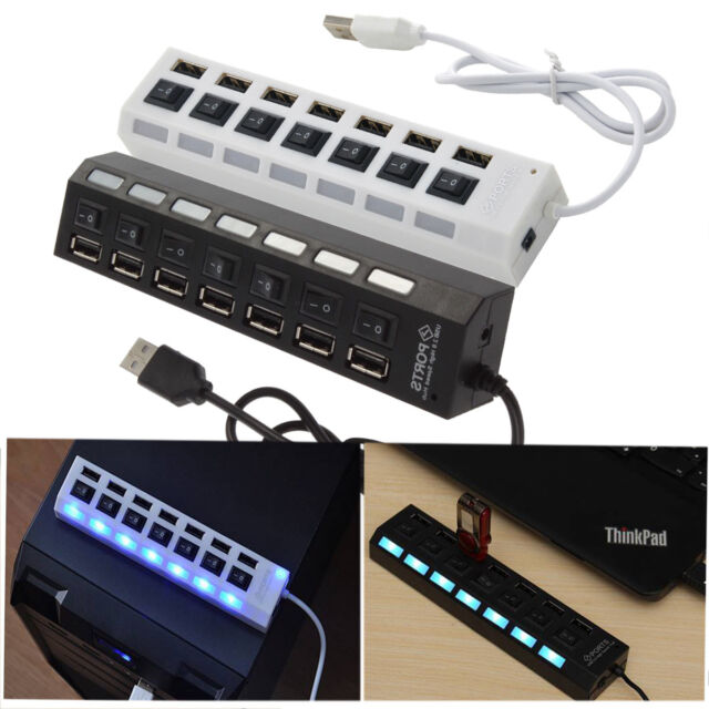 3/4/7-Port USB 2.0 Hub with High Speed Adapter ON/OFF Switch for Laptop PC AS