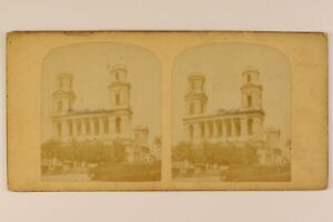 Chiesa Saint-Sulpice Parigi Francia Foto Stereo Vintage Albumina c1865