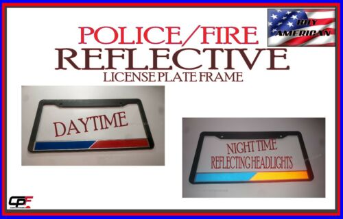 REFLECTIVE POLICE FIRE thin blue red line firefighter police License Plate Frame