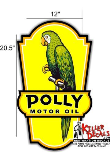 """POLL-4   20.5/"""" POLLY OIL DECAL GAS AND OIL GAS PUMP SIGN STICKER"""