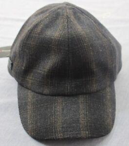 John-Varvatos-Star-USA-Logo-Black-Brown-Plaid-Wool-Adj-Leather-Cap-Hat-NWT-S-M