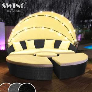 Sonneninsel  LED - Sonneninsel Rattan Lounge Gartenliege Polyrattan Sitzgruppe ...