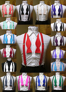 Men-039-s-clip-on-suspenders-x-back-and-Self-Tie-Bow-Tie-Steampunk-Costume-Tux-Prom