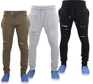 702bee61cdef17 Mens Skinny Ripped Style Jogging Bottoms Cuff Rib Waistband Low Rise ...