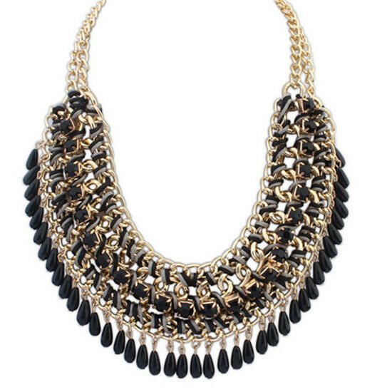 Women Fashion Jewelry Pendant Chain Crystal Choker Chunky Statement Bib Necklace