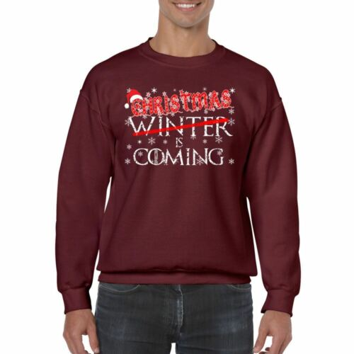 Divertente Da Uomo Stampata Felpe-Natale inverni a venire Game of Thrones ispirato