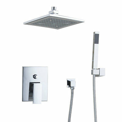 "Bathroom Ceiling  Chrome Shower Tap Set 8"" Rain Shower Head + Hand Sprayer"