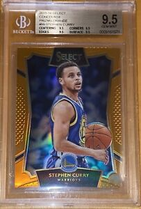 Pop 3! 🔥2015 Stephen Curry PANINI SELECT ORANGE PRIZM #99 /60 BGS 9.5 PSA gold