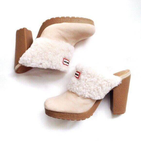 Hunter Bruson Shearling Lined Leather Clogs Cream Fur Slip On Heels Dimensione 8
