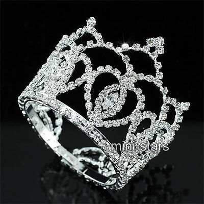 Flower Girl / Baby Crystal Full Circle Round Mini Silver Plate Tiara Crown T1743