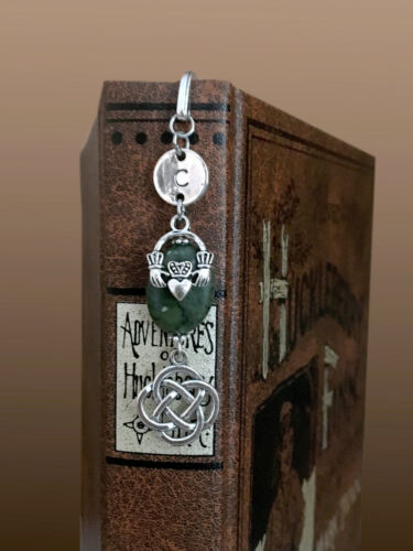 Personalized Celtic BOOKMARK Choose INITIAL Green Stone Silver Pl Claddagh US