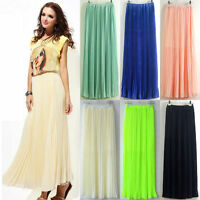 Ladies Chiffon Pleated Retro Long Maxi Full Skirt Elastic WaistBand Dress Colors