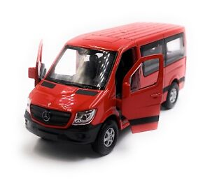 Mercedes-Benz-Sprinter-With-Window-Red-Model-Car-Scale-1-3-4-Licensed