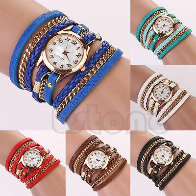 New Fashion Women Girl Faux Leather Quartz Rhinestone Sling Chain Wrist Watch