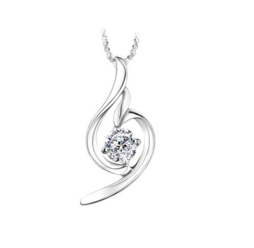 925 Sterling Silver Colorful Crystal Zircon Pendentif plus Chaîne rolo en gros