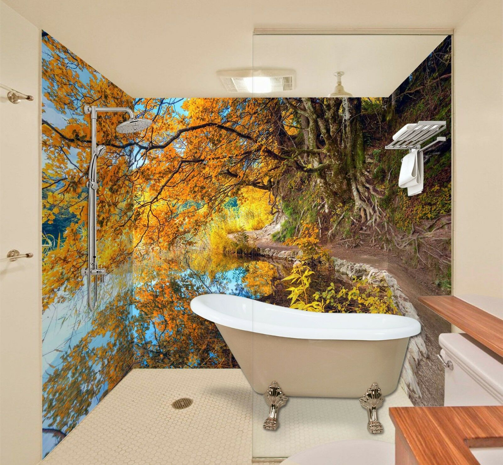3D Trees lake sky 539 WallPaper Bathroom Print Decal Wall Deco AJ WALLPAPER UK