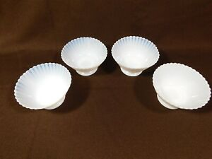 Set-of-4-Macbeth-Evans-Petalware-Monax-White-Opalescent-Sherbet-Dessert-Bowls