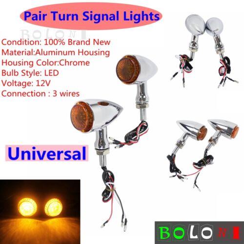 12V Motorcycle LED Turn Signal Light Blinker 10mm Bolt Thread For Bobber Chopper