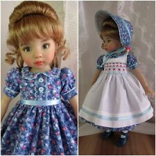"""Smocked Doll Dress Pinafore Bonnet Outfit-13"""" Effner Little Darling BJD Wiggs"""