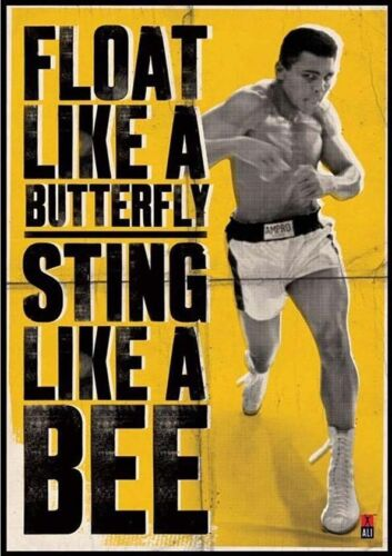 A4 Float Like a Butterfly Muhammad Ali Posters Old Vintage Boxing Wall Decor